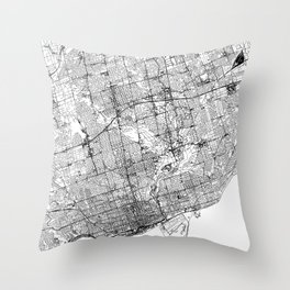 Toronto White Map Throw Pillow