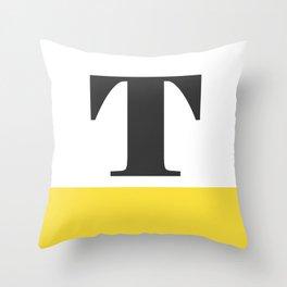 Monogram Letter T-Pantone-Buttercup Throw Pillow