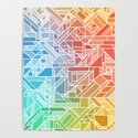 BRIGHT VIBRANT GRADIENT GEOMETRIC SHAPES RAINBOW PRINT TILED MOSAIC TIE DYE COLORFUL by aej_design