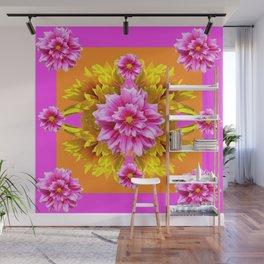 FUCHSIA PINK DAHLIAS & YELLOW SUNFLOWERS GARDEN ART Wall Mural