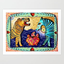 The Tiger the Zebra and the Turtle. Art Print