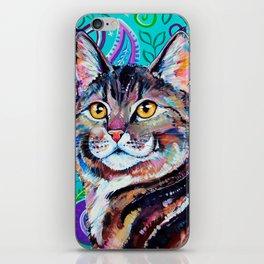 Tabby Cat on Paisley iPhone Skin