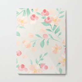 Seamless Pastel Magical Plant Floral Pattern Cute Whimsical Metal Print