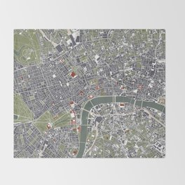 London city map engraving Throw Blanket