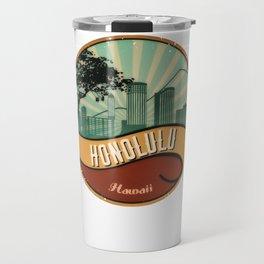 Honolulu City Skyline Design Hawaii Retro Vintage 80s Travel Mug