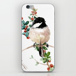 chickadee and berries iPhone Skin