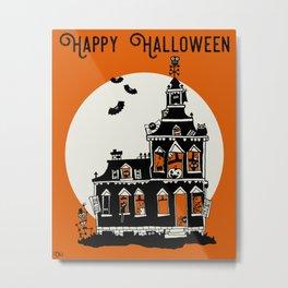 Vintage Style Haunted House - Happy Halloween Metal Print