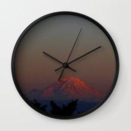 Mount Rainier Moon Rise Wall Clock