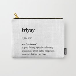 Friyay black and white contemporary minimalism typography design home wall decor bedroom Carry-All Pouch