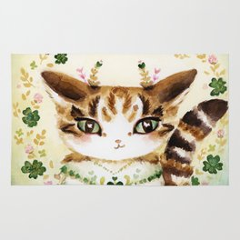Poe: Heart of my Heart, St. Paddy's Day Cat, lucky charm Rug