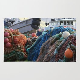Dutch Harbor Fishing Nets and Boats Rug
