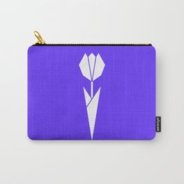 Origami Flower (white + blue) Carry-All Pouch