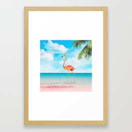 Flamingo Beach Framed Art Print