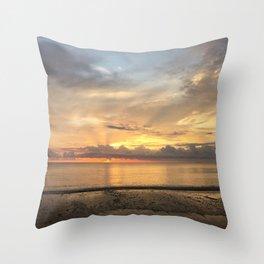 Daintree rainforest Oceanside sunrise Throw Pillow