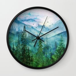 Spring Mountainscape Wall Clock