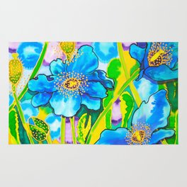 Blue Poppies 2 Rug