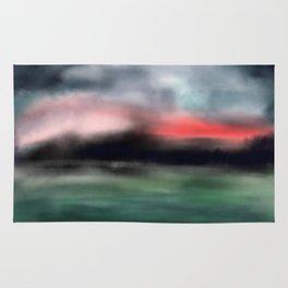 Sunset mystery, pink navy teal art Rug