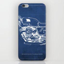 Motorcycle blueprint,2010, Moto V7, Clubman racer,poster,man cave decoration,vintage art,blue poster iPhone Skin