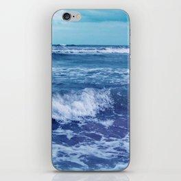 Blue Atlantic Ocean White Cap Waves Clouds in Sky Photograph iPhone Skin