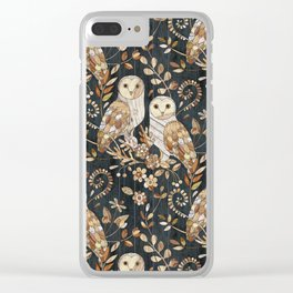 Wooden Wonderland Barn Owl Collage Clear iPhone Case