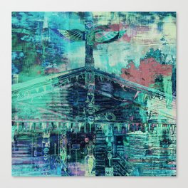 Totem Cabin Abstract - Teal Canvas Print