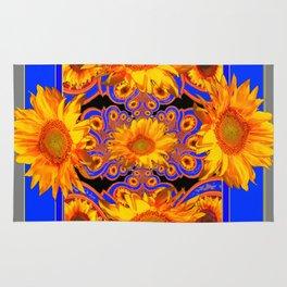 Golden Sunflowers Ornate Blue Patterns Rug