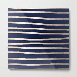 Drawn Stripes White Gold Sands on Nautical Navy Blue Metal Print