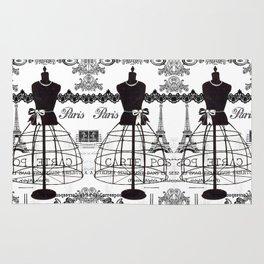 Vintage black white Paris French dress mannequin pattern Rug