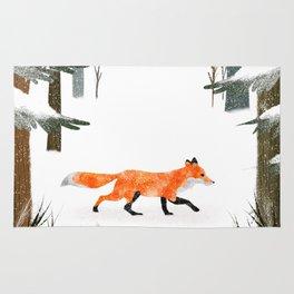 Fox In A Late Winter Snowfall Rug