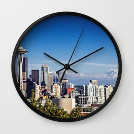 Seattle Overlook with Mt Rainier Wall Clock