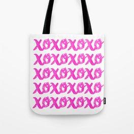 XOXOXO / Pink on White Tote Bag