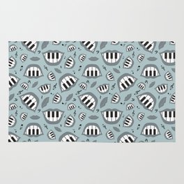 Piano smile pattern in grey Rug