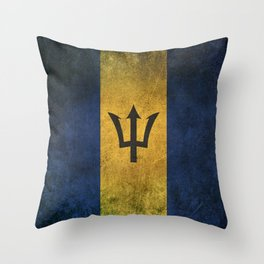 Old and Worn Distressed Vintage Flag of Barbados Throw Pillow