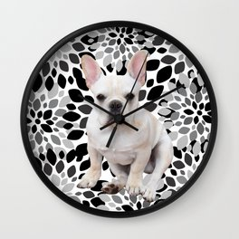 Cream Frenchie BNW Flower Burst Wall Clock
