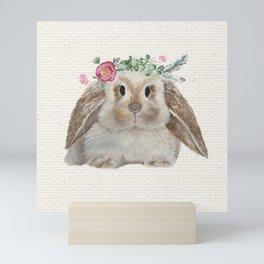 Floral Crown Bunny on Burlap Mini Art Print