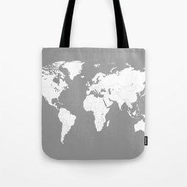 Minimalist World Map in Grey Tote Bag