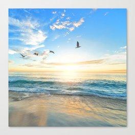 Blue Sky with Birds Canvas Print