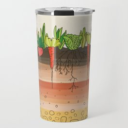 Earth soil layers vegetables garden cute educational illustration kitchen decor print Travel Mug