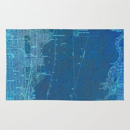 Miami Florida vintage map year 1950, blue usa maps Rug