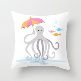 Sweet octopus with a Parasol Throw Pillow
