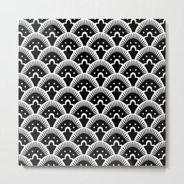 Fan Pattern Black & White 201 Metal Print