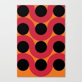 Black Balls on red Elastic Worms in an Orange Background Canvas Print