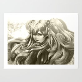 Asuka Black and White Art Print