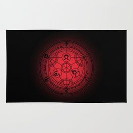 transmutation halftone circle Rug