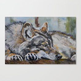 White wolf, oilpainting Canvas Print