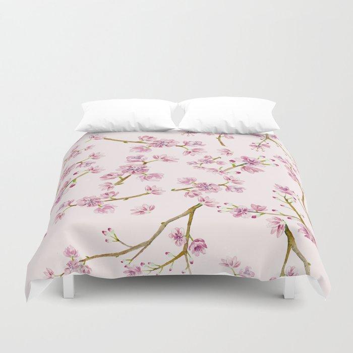 Spring Flowers - Pink Cherry Blossom Pattern Duvet Cover