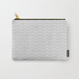 Silver and White Christmas Chevron Stripes Carry-All Pouch