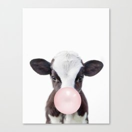 Bubble Gum Baby Cow Canvas Print