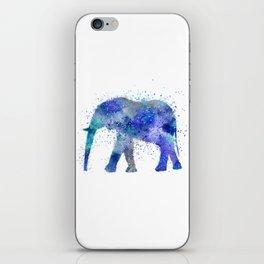 Blue Watercolor Elephant iPhone Skin