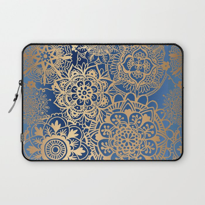 Blue and Gold Mandala Pattern Laptop Sleeve